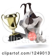 Clipart Of A 3d Jack Russell Terrier Dog Running With A Trophy Cup Royalty Free Illustration