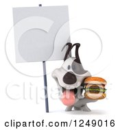 Clipart Of A 3d Jack Russell Terrier Dog Holding A Double Cheeseburger Under A Blank Sign Royalty Free Illustration