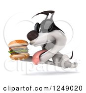 Clipart Of A 3d Jack Russell Terrier Dog In Sunglasses Running With A Double Cheeseburger 2 Royalty Free Illustration