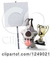 Clipart Of A 3d Jack Russell Terrier Dog Holding A Trophy Cup By A Blank Sign Royalty Free Illustration