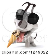 Clipart Of A 3d Happy Jack Russell Terrier Dog Wearing Sunglasses And Eating Ice Cream Royalty Free Illustration