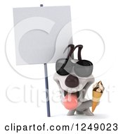 Clipart Of A 3d Happy Jack Russell Terrier Dog Wearing Sunglasses And Holding Ice Cream By A Blank Sign Royalty Free Illustration