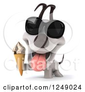 Clipart Of A 3d Happy Jack Russell Terrier Dog Wearing Sunglasses And Holding Ice Cream Royalty Free Illustration
