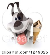 Clipart Of A 3d Happy Jack Russell Terrier Dog Holding Ice Cream Over A Sign Royalty Free Illustration