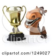 Clipart Of A 3d Brown Horse Holding A Trophy Cup Over A Sign Royalty Free Illustration