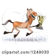 Clipart Of A 3d Brown Horse Running With A Trophy Cup Royalty Free Illustration