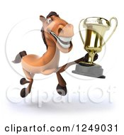 Clipart Of A 3d Brown Horse Running With A Trophy Cup 2 Royalty Free Illustration