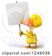 3d Yellow Duck Pointing Up To A Blank Sign
