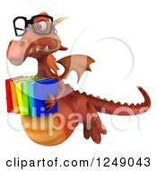 Clipart Of A 3d Bespectacled Red Dragon Flying With Books Royalty Free Illustration