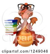 Clipart Of A 3d Bespectacled Red Dragon Holding A Stack Of Books Royalty Free Illustration