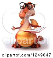 Clipart Of A 3d Bespectacled Red Dragon Gesturing And Reading A Book Royalty Free Illustration
