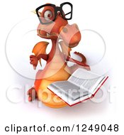 Clipart Of A 3d Bespectacled Red Dragon Holding A Thumb Down And Reading A Book Royalty Free Illustration