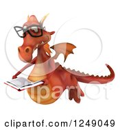 Clipart Of A 3d Bespectacled Red Dragon Flying And Reading A Book Royalty Free Illustration