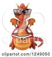 Clipart Of A 3d Bespectacled Red Dragon Reading A Book Royalty Free Illustration