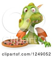 Clipart Of A 3d Green Dragon Holding A Pizza Over A Sign Royalty Free Illustration