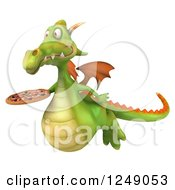 Clipart Of A 3d Green Dragon Flying With A Pizza Royalty Free Illustration