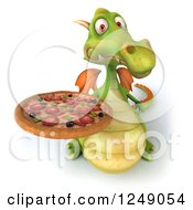 Clipart Of A 3d Green Dragon Holding Up A Pizza Royalty Free Illustration