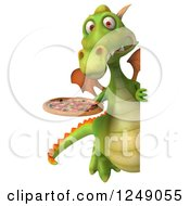 Clipart Of A 3d Green Dragon Holding A Pizza Around A Sign Royalty Free Illustration