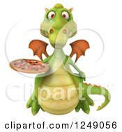Clipart Of A 3d Green Dragon Holding A Pizza Royalty Free Illustration