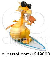 Clipart Of A 3d Yellow Dragon Wearing Sunglasses And Surfing 4 Royalty Free Illustration
