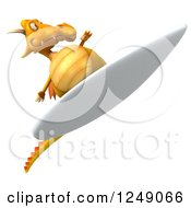 Clipart Of A 3d Yellow Dragon Surfing 3 Royalty Free Illustration