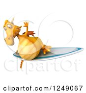 Clipart Of A 3d Yellow Dragon Surfing 4 Royalty Free Illustration
