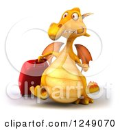 Clipart Of A 3d Traveling Yellow Dragon Walking With Rolling Luggage Royalty Free Illustration