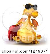 Clipart Of A 3d Traveling Yellow Dragon Wearing Sunglasses And Walking With Rolling Luggage Royalty Free Illustration