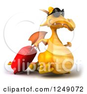 Clipart Of A 3d Traveling Yellow Dragon Wearing Sunglasses And Walking With Rolling Luggage 2 Royalty Free Illustration