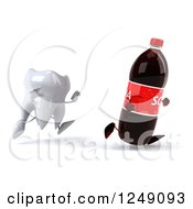 Clipart Of A 3d Tooth Chasing A Soda Bottle Royalty Free Illustration