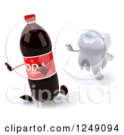 Clipart Of A 3d Tooth Chasing A Soda Bottle 2 Royalty Free Illustration