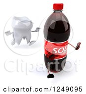 Clipart Of A 3d Tooth Chasing A Soda Bottle 3 Royalty Free Illustration