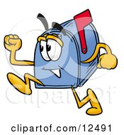 Clipart Picture Of A Blue Postal Mailbox Cartoon Character Running