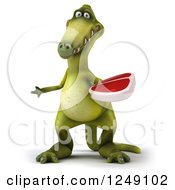 Clipart Of A 3d Green Dinosaur Holding A Steak And Presenting Royalty Free Illustration