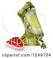 Clipart Of A 3d Green Dinosaur Holding A Steak Over A Sign Royalty Free Illustration