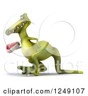 Clipart Of A 3d Green Dinosaur Walking With A Steak 2 Royalty Free Illustration