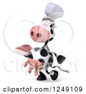 Clipart Of A 3d Cow Chef Walking With A Steak Royalty Free Illustration