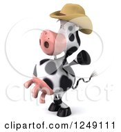 Clipart Of A 3d Cow Mascot Wearing A Cowboy Hat Cheering And Facing Left Royalty Free Illustration