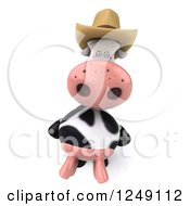 Clipart Of A 3d Cow Mascot Wearing A Cowboy Hat Royalty Free Illustration