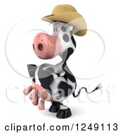 Clipart Of A 3d Cow Mascot Wearing A Cowboy Hat And Facing Left Royalty Free Illustration