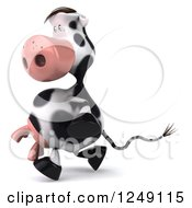 Clipart Of A 3d Cow Wearing Sunglasses And Running 2 Royalty Free Illustration