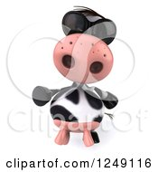 Clipart Of A 3d Cow Wearing Sunglasses And Pointing Royalty Free Illustration