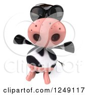 Clipart Of A 3d Cow Wearing Sunglasses And Holding His Arms Out Royalty Free Illustration