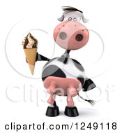 Clipart Of A 3d Cow Holding An Ice Cream Cone Royalty Free Illustration