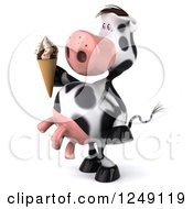 Clipart Of A 3d Cow Holding An Ice Cream Cone And Facing Left Royalty Free Illustration