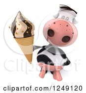 Clipart Of A 3d Cow Holding Up An Ice Cream Cone Royalty Free Illustration
