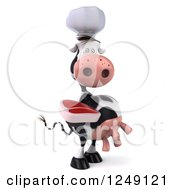 Clipart Of A 3d Cow Chef Holding A Steak 3 Royalty Free Illustration