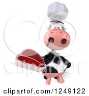 Clipart Of A 3d Cow Chef Holding A Steak 2 Royalty Free Illustration