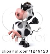 Clipart Of A 3d Cow Wearing Sunglasses And Cheering Royalty Free Illustration