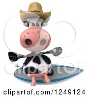 Clipart Of A 3d Surfer Cow Wearing A Cowboy Hat 3 Royalty Free Illustration